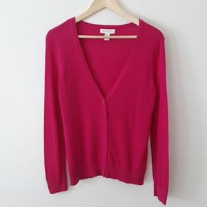 Forever 21 Pink V-Neck Button Down Cardigan